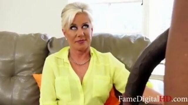 Grandmom tests my.. blonde handjob interracial